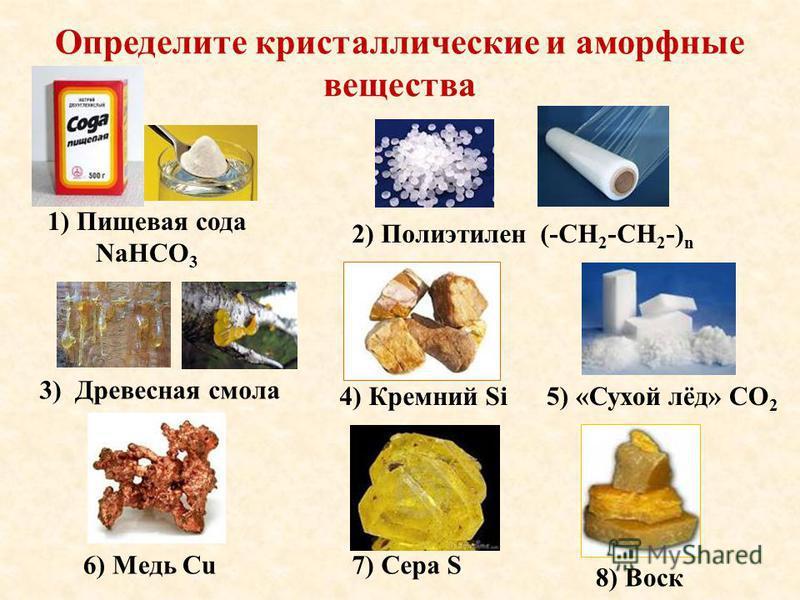 Определите кристаллические и аморфные вещества 1) Пищевая сода NaHCO 3 2) Полиэтилен (-СН 2 -СН 2 -) n 3) Древесная смола 7) Сера S 4) Кремний Si 6) Медь Cu 5) «Сухой лёд» СО 2 8) Воск