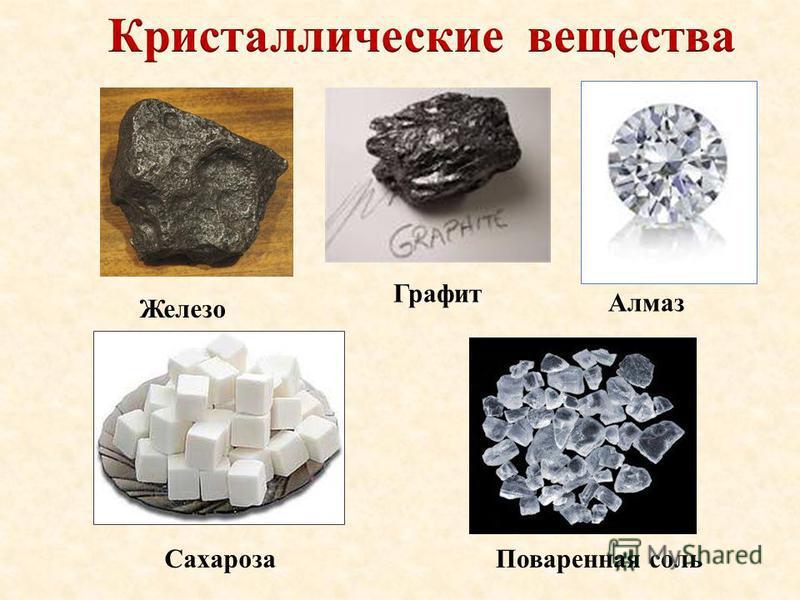 Железо Поваренная соль Алмаз Графит Сахароза
