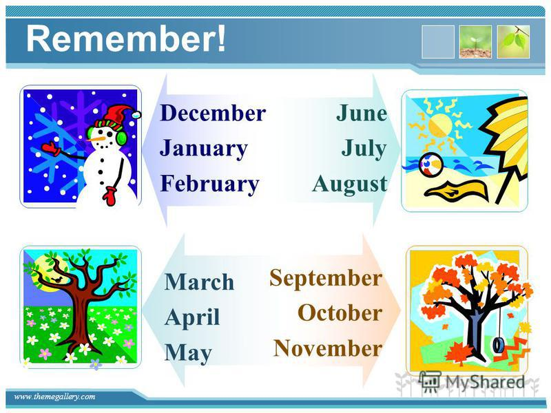 www.themegallery.com Remember! December January February June July August March April May September October November