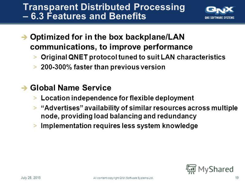 July 28, 201519 All content copyright QNX Software Systems Ltd. Transparent Distributed Processing – 6.3 Features and Benefits Optimized for in the box backplane/LAN communications, to improve performance >Original QNET protocol tuned to suit LAN cha