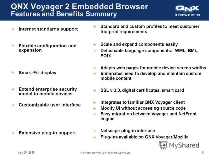 July 28, 20156 All content copyright QNX Software Systems Ltd. QNX Voyager 2 Embedded Browser Features and Benefits Summary Internet standards support Flexible configuration and expansion Smart-Fit display Extend enterprise security model to mobile d