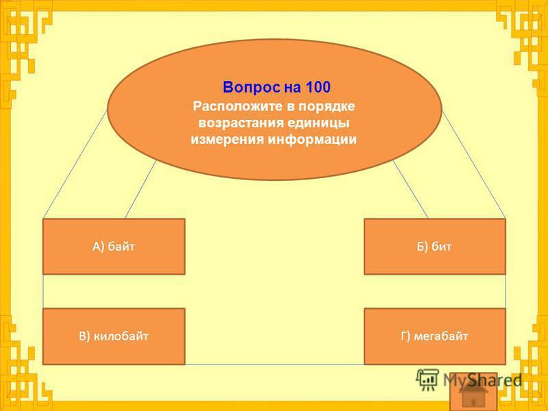 Вопрос на 100 Расположите в порядке возрастания единицы измерения информации А) байт Г) мегабайтВ) килобайт Б) бит