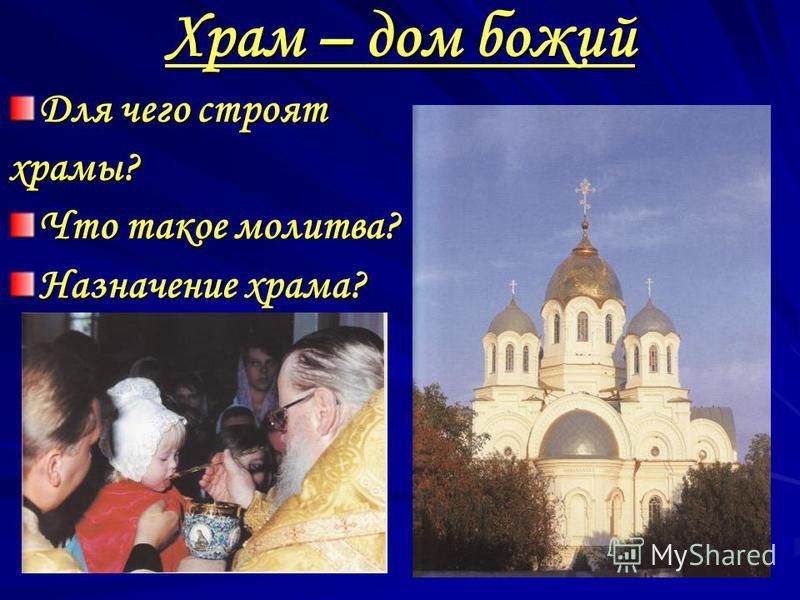 Храм – дом божий Для чего строят храмы? Что такое молитва? Назначение храма?