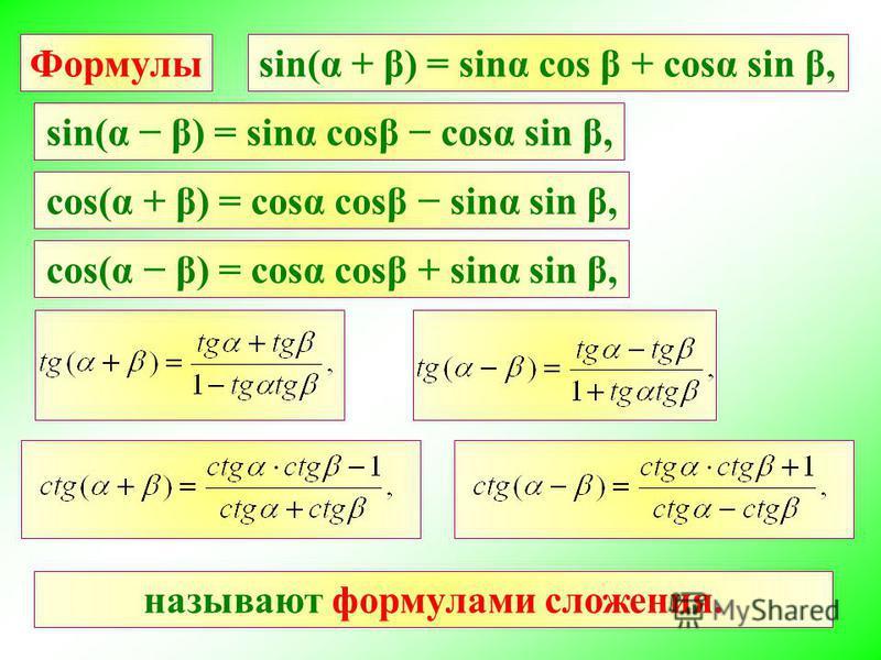 Формулы sin(α β) = sinα cost cost sin β, cos(α + β) = cost cost sinα sin β, cos(α β) = cost cost + sinα sin β, sin(α + β) = sinα cos β + cost sin β, называют формулами сложения.