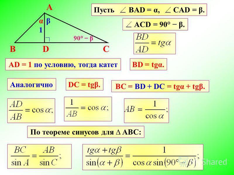 А DBC Пусть BAD = α, CAD = β. βα AD = 1 по условию, тогда катетВD = tgα. 1 АналогичноDC = tgβ. AСD = 90° β. По теореме синусов для ABC: BC = ВD + DC = tgα + tgβ. 90° β