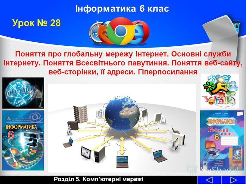 Інформатика 6 клас Поняття про глобальну мережу Інтернет. Основні служби Інтернету. Поняття Всесвітнього павутиння. Поняття веб-сайту, веб-сторінки, її адреси. Гіперпосилання Урок 28 Розділ 5. Комп'ютерні мережі