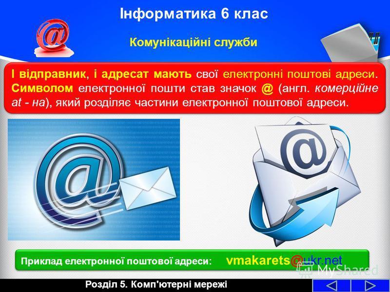 І відправник, і адресат мають свої електронні поштові адреси. Символом електронної пошти став значок @ (англ. комерційне at - на), який розділяє частини електронної поштової адреси. Розділ 5. Комп'ютерні мережі Інформатика 6 клас Комунікаційні служби