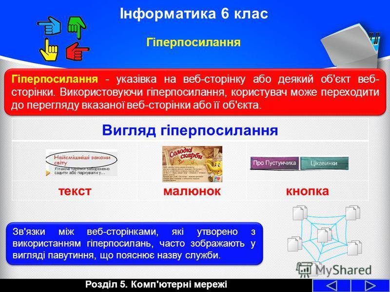 Вигляд гіперпосилання текстмалюноккнопка Розділ 5. Комп'ютерні мережі Інформатика 6 клас Гіперпосилання Гіперпосилання - указівка на веб-сторінку або деякий об'єкт веб- сторінки. Використовуючи гіперпосилання, користувач може переходити до перегляду