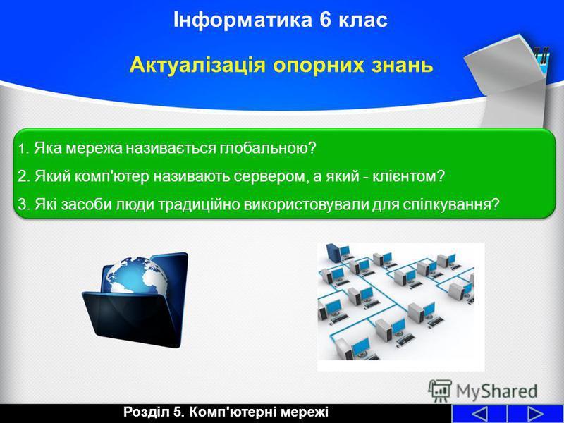 Інформатика 6 клас Актуалізація опорних знань 1. Яка мережа називається глобальною? 2. Який комп'ютер називають сервером, а який - клієнтом? 3. Які засоби люди традиційно використовували для спілкування? 1. Яка мережа називається глобальною? 2. Який