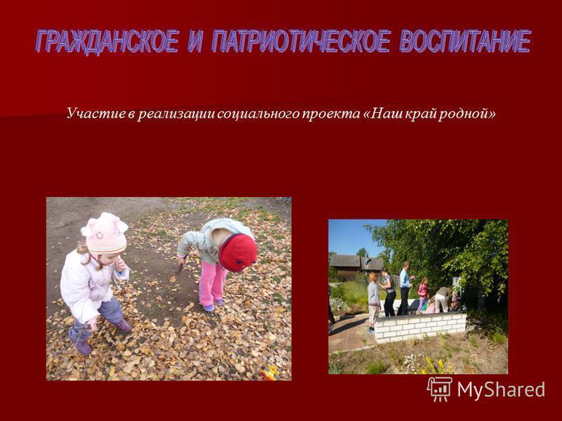 Участие в реализации социального проекта «Наш край родной»