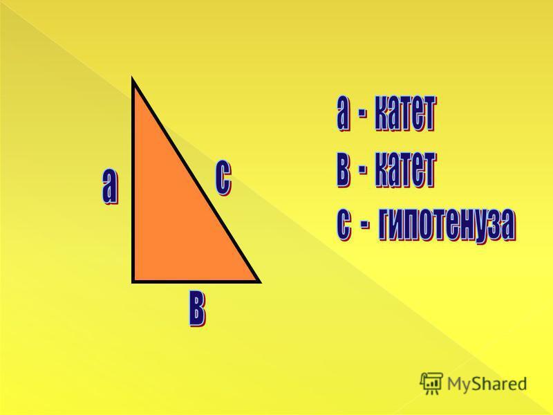 Угол С = 90° A CB катет гипотенуза Какой треугольник называется прямоугольным? Как называются стороны, Образующие прямой угол? Как называется сторона, лежащая напротив прямого угла?