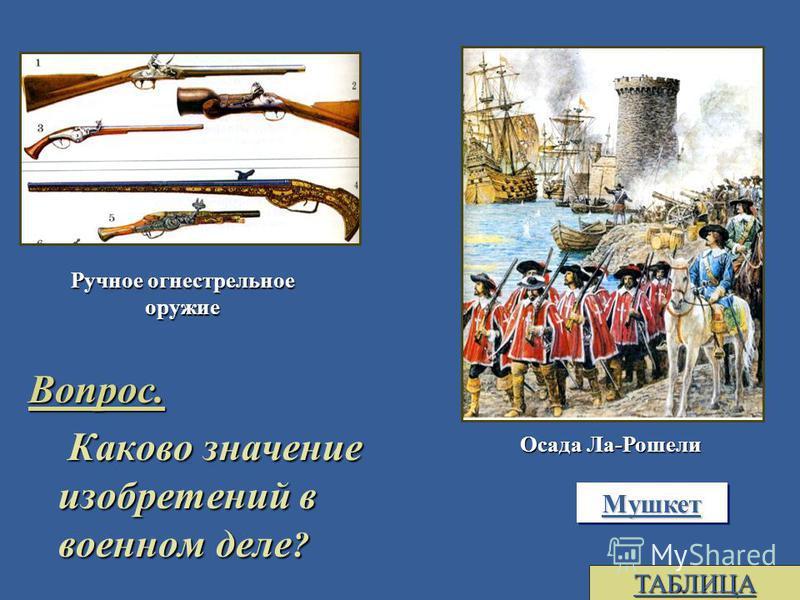 Вопрос. Каково значение изобретений в военном деле ? Каково значение изобретений в военном деле ? Ручное огнестрельное оружие Осада Ла-Рошели Мушкет ТАБЛИЦА