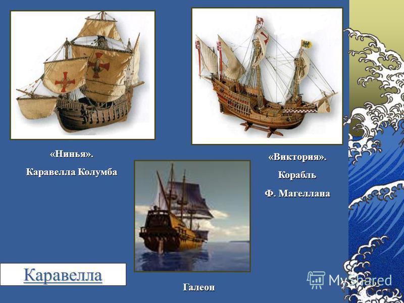 «Нинья». Каравелла Колумба «Виктория».Корабль Ф. Магеллана Галеон Каравелла