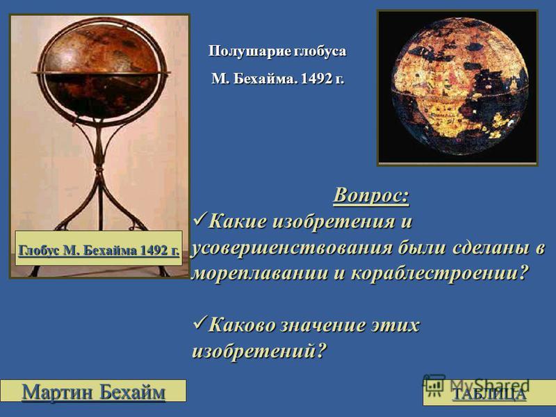 Полушарие глобуса М. Бехайма. 1492 г. Вопрос: Какие изобретения и усовершенствования были сделаны в мореплавании и кораблестроении? Какие изобретения и усовершенствования были сделаны в мореплавании и кораблестроении? Каково значение этих изобретений