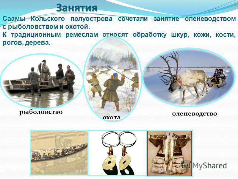 Занятия рыболовство Саамы Кольского полуострова сочетали занятие оленеводством с рыболовством и охотой. К традиционным ремеслам относят обработку шкур, кожи, кости, рогов, дерева. охота оленеводство