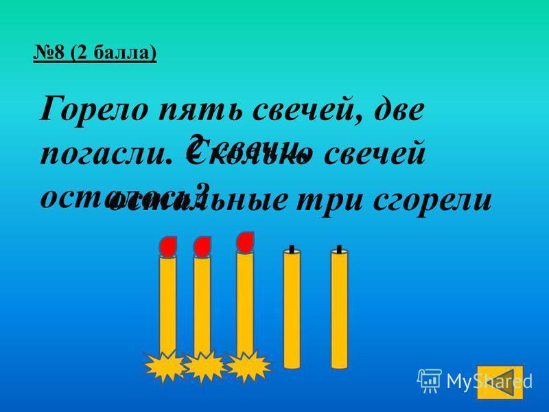 Горело пять свечей, две погасли. Сколько свечей осталось? 2 свечи, остальные три сгорели