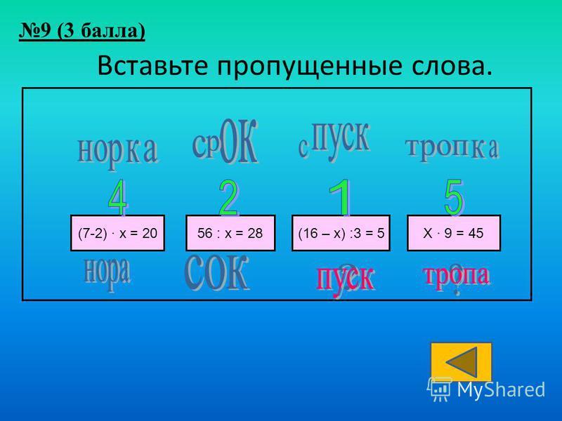 Вставьте пропущенные слова. (7-2) · х = 2056 : х = 28(16 – х) :3 = 5Х · 9 = 45 9 (3 балла)