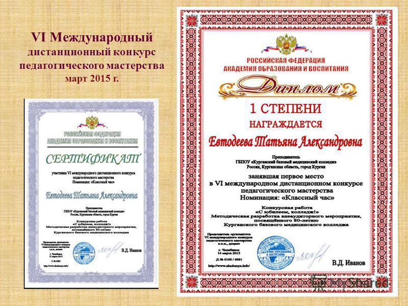 VI Международный дистанционный конкурс педагогического мастерства март 2015 г.