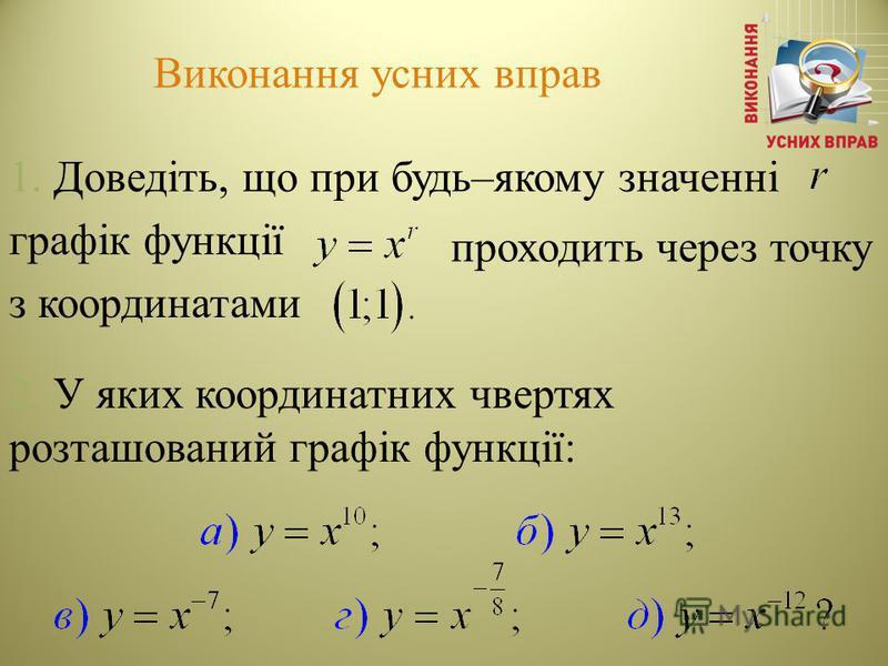 Виконання усних вправ 1. Доведіть, що при будь–якому значенні графік функції з координатами 2. У яких координатних чвертях розташований графік функції: проходить через точку