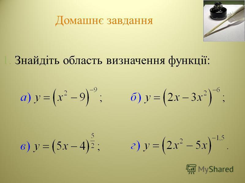 Домашнє завдання 1. Знайдіть область визначення функції: