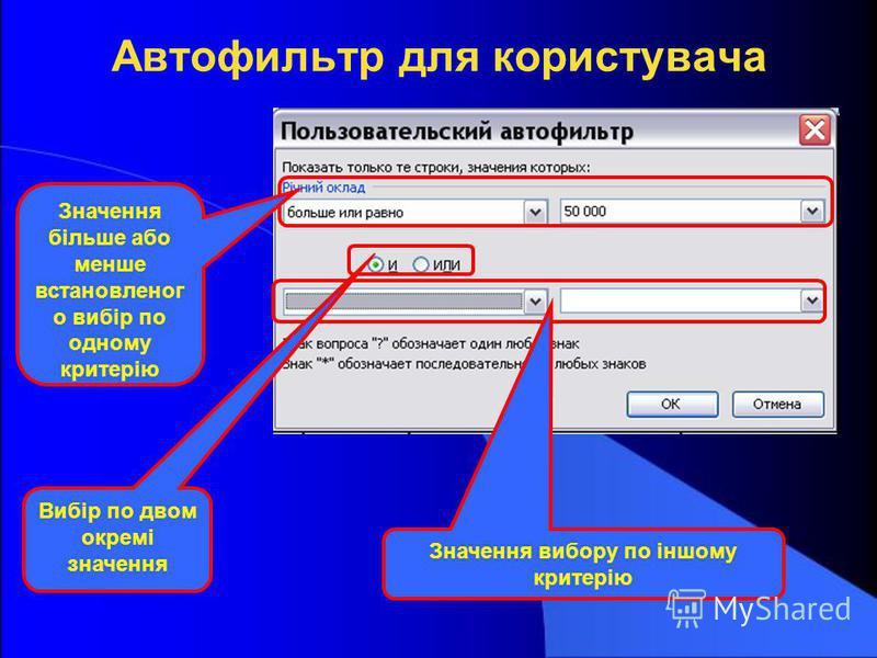 Автофильтр для користувача Значення більше або менше встановленог о вибір по одному критерію Вибір по двом окремі значення Значення вибору по іншому критерію