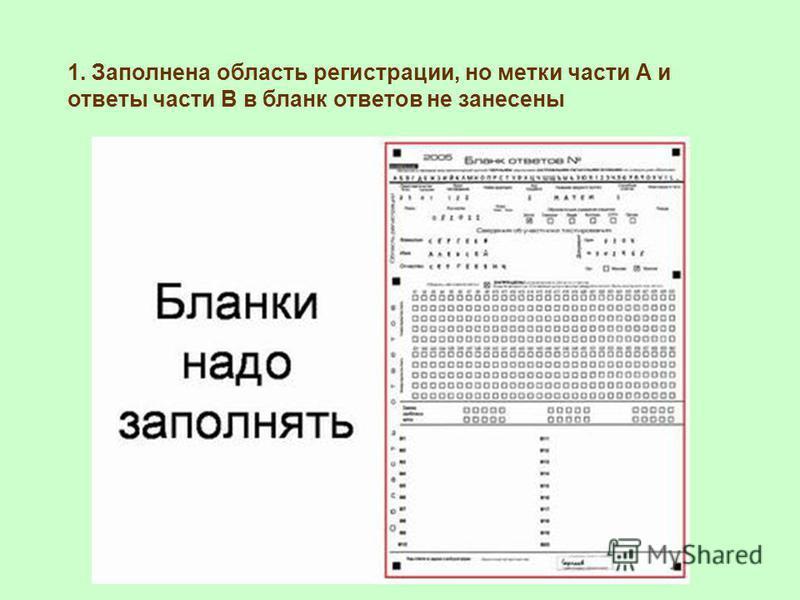 1. Заполнена область регистрации, но метки части А и ответы части В в бланк ответов не занесены