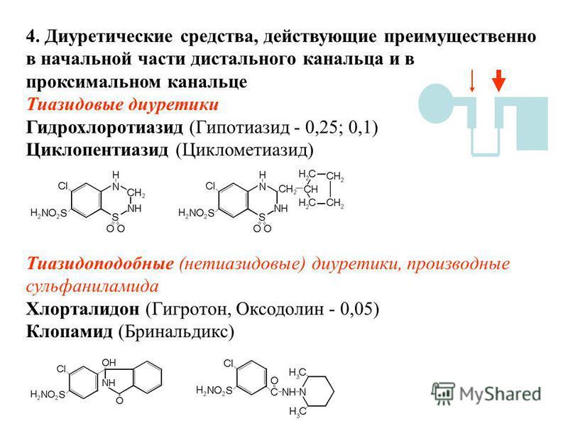 4. Диуретические средства, действующие преимущественно в начальной части дистального канальца и в проксимальном канальце Тиазидовые диуретики Гидрохлоротиазид (Гипотиазид - 0,25; 0,1) Циклопентиазид (Циклометиазид) Тиазидоподобные (нетиазидовые) диур