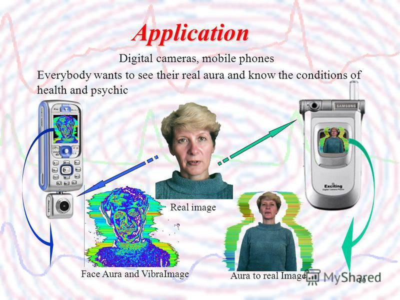 10 Digital cameras, mobile phones Application Everybody wants to see their real aura and know the conditions of health and psychic Face Aura and VibraImage Aura to real Image Real image