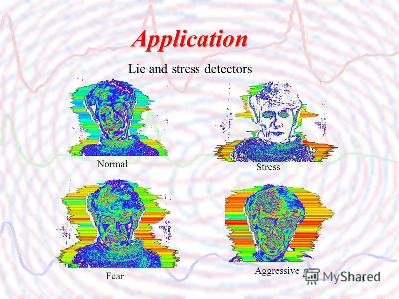 13 Application Lie and stress detectors Normal Aggressive Stress Fear
