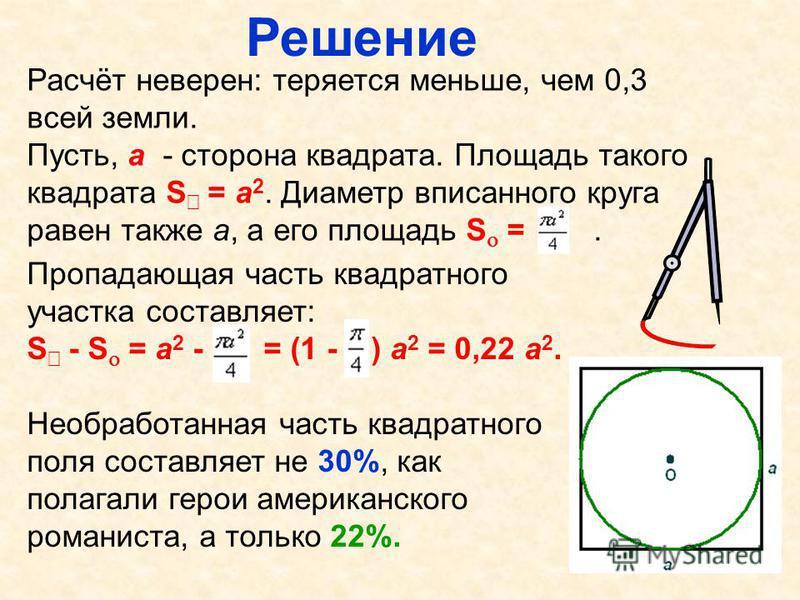Решение Расчёт неверен: теряется меньше, чем 0,3 всей земли. Пусть, а - сторона квадрата. Площадь такого квадрата S = а 2. Диаметр вписанного круга равен также а, а его площадь S =. Пропадающая часть квадратного участка составляет: S - S = а 2 - = (1