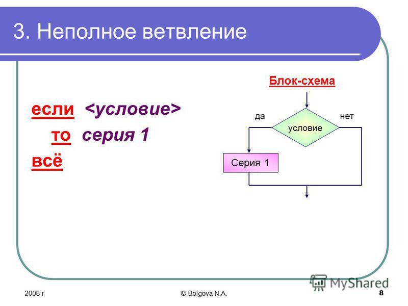 2008 г© Bolgova N.A. 8 3. Неполное ветвление если то серия 1 всё Блок-схема условие да-нет Серия 1