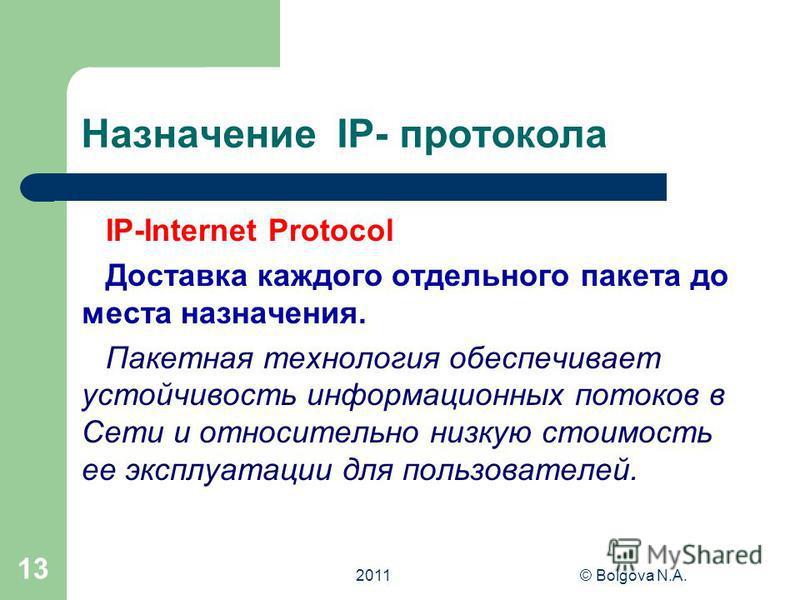 2011© Bolgova N.A. 12 Протокол TCP / IP TCP-Transmission Control Protocol- протокол управления передачей. Согласно протоколу ТСР передаваемое сообщение разбивается на пакеты на отправляющем сервере и восстанавливается на принимающем сервере К каждому