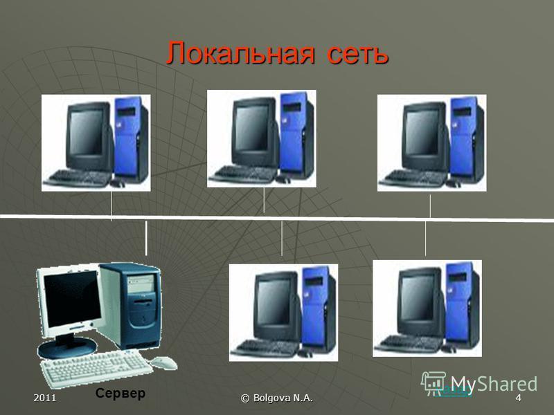 2011 © Bolgova N.A. 3 Виды топологии «ШИНА» «КОЛЬЦО» «ЗВЕЗДА» «КОЛЬЦО» «ЗВЕЗДА» «СНЕЖИНКА» назад