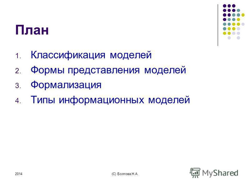 2014(С) Болгова Н.А.2 План 1. Классификация моделей 2. Формы представления моделей 3. Формализация 4. Типы информационных моделей