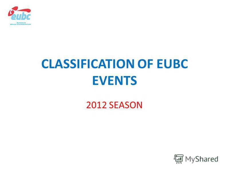 CLASSIFICATION OF EUBC EVENTS 2012 SEASON