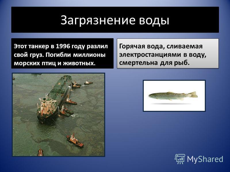 Загрязнение воды Этот танкер в 1996 году разлил свой груз. Погибли миллионы морских птиц и животных. Горячая вода, сливаемая электростанциями в воду, смертельна для рыб.