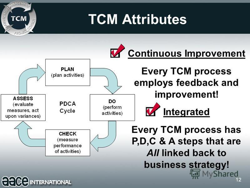 12 TCM Attributes Continuous Improvement Every TCM process employs feedback and improvement! Integrated Every TCM process has P,D,C & A steps that are All linked back to business strategy!