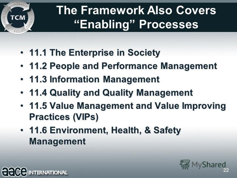 22 The Framework Also Covers Enabling Processes 11.1 The Enterprise in Society11.1 The Enterprise in Society 11.2 People and Performance Management11.2 People and Performance Management 11.3 Information Management11.3 Information Management 11.4 Qual