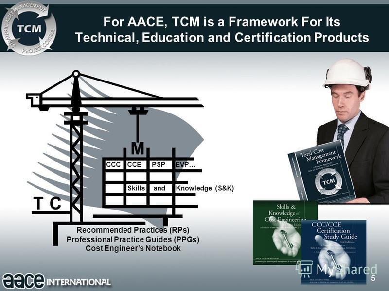 5 For AACE, TCM is a Framework For Its Technical, Education and Certification Products Recommended Practices (RPs) Professional Practice Guides (PPGs) Cost Engineers Notebook Skills and Knowledge (S&K) CCC CCE PSP EVP… TC M