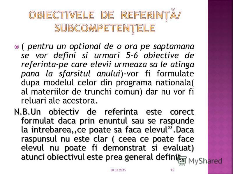 Redactare ½-1 pagina Motivarea cursului propus Trebuie s ă corespund ă nevoilor elevilor Corespundere cu cerinţele comunit ă ţii, Formarea unor competenţe de transfer etc. 30.07.2015 11