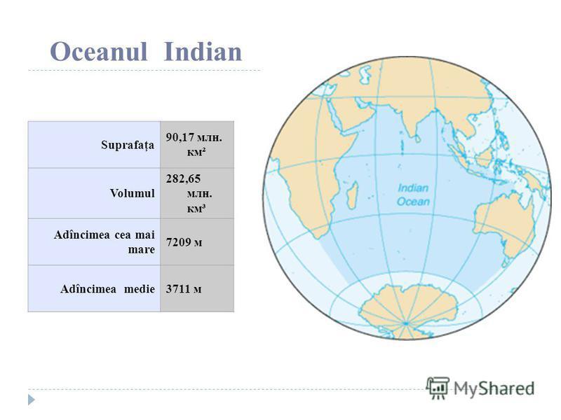 Oceanul Indian Suprafaţa 90,17 млн. км² Volumul 282,65 млн. км³ Adîncimea cea mai mare 7209 м Adîncimea medie3711 м