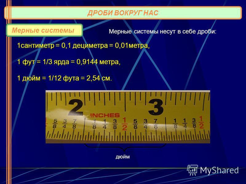 ДРОБИ ВОКРУГ НАС Мерные системы 1 сантиметр = 0,1 дециметра = 0,01 метра, 1 фут = 1/3 ярда = 0,9144 метра, 1 дюйм = 1/12 фута = 2,54 см. дюйм Мерные системы несут в себе дроби: