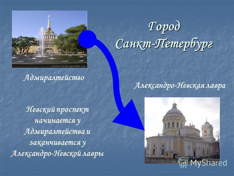 Город Санкт-Петербург Невский проспект начинается у Адмиралтейства и заканчивается у Александро-Невской лавры Адмиралтейство Александро-Невская лавра