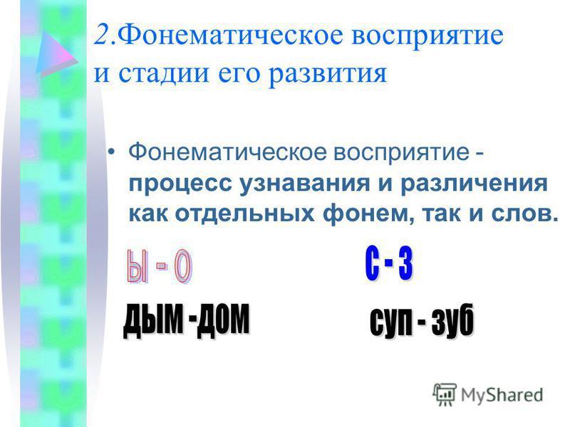 2. Фонематическое восприятие и стадии его развития Фонематическое восприятие - процесс узнавания и различения как отдельных фонем, так и слов.
