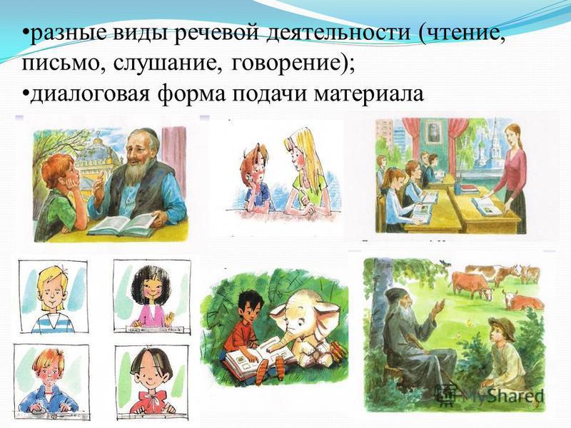 разные виды речевой деятельности (чтение, письмо, слушание, говорение); диалоговая форма подачи материала