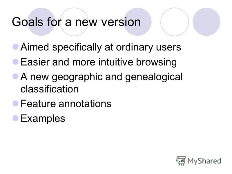 Goals for a new version Aimed specifically at ordinary users Easier and more intuitive browsing A new geographic and genealogical classification Feature annotations Examples