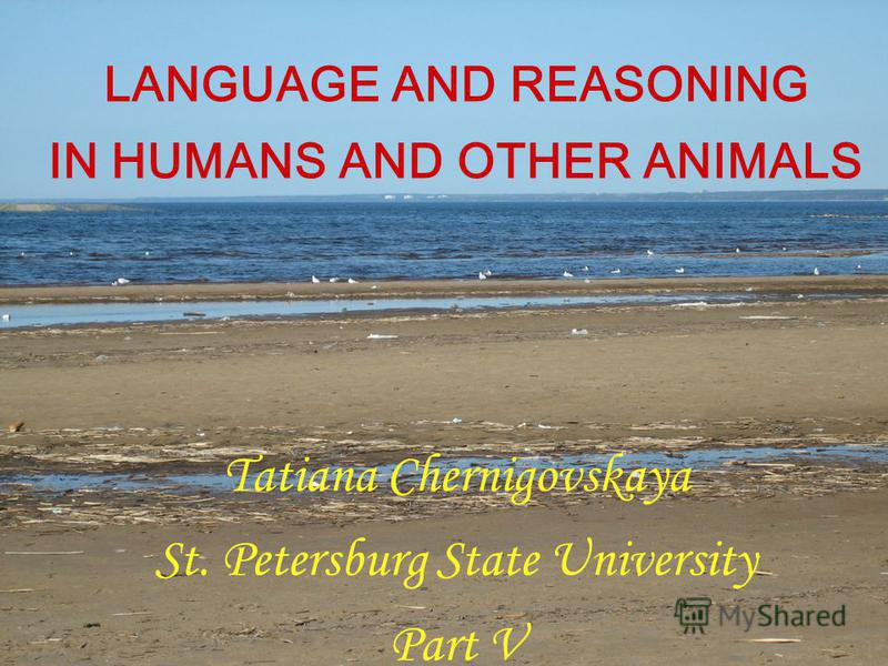 LANGUAGE AND REASONING IN HUMANS AND OTHER ANIMALS Tatiana Chernigovskaya St. Petersburg State University Part V