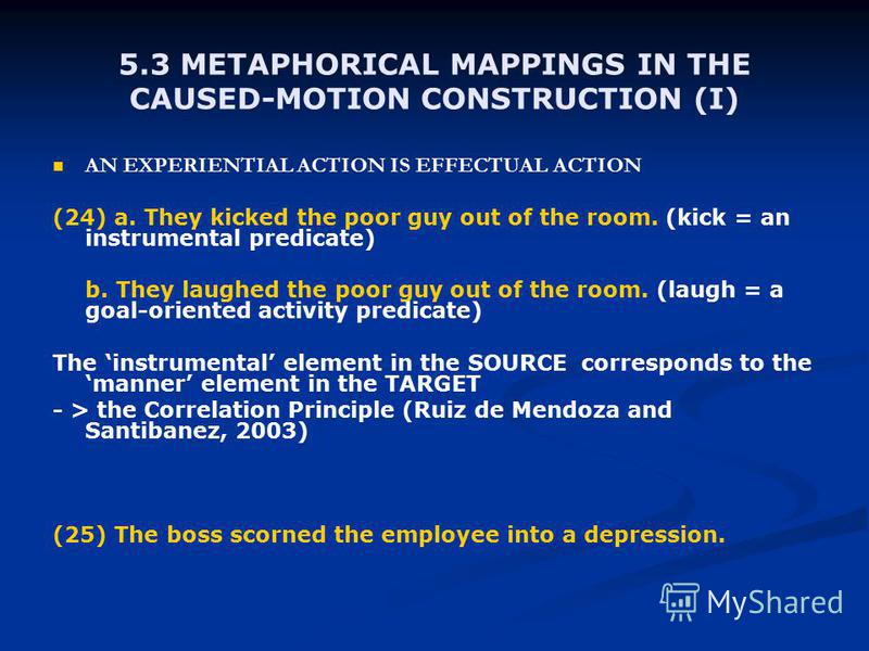 5.3 METAPHORICAL MAPPINGS IN THE CAUSED-MOTION CONSTRUCTION (I) AN EXPERIENTIAL ACTION IS EFFECTUAL ACTION (24) a. They kicked the poor guy out of the room. (kick = an instrumental predicate) b. They laughed the poor guy out of the room. (laugh = a g