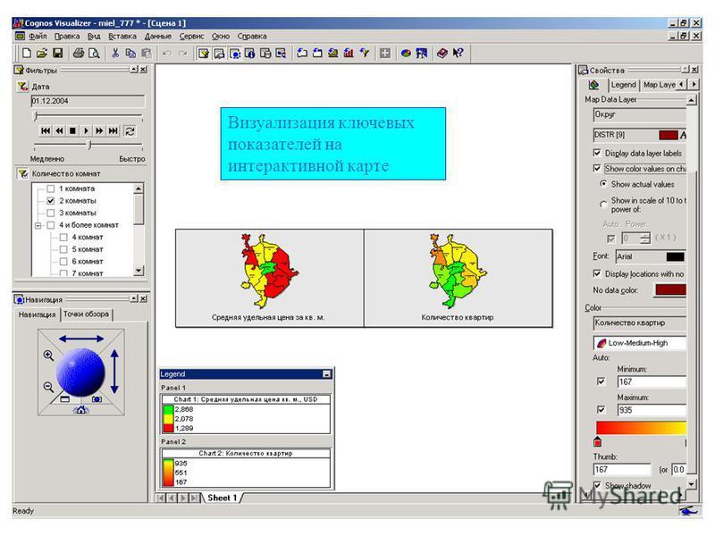 Визуализация ключевых показателей на интерактивной карте