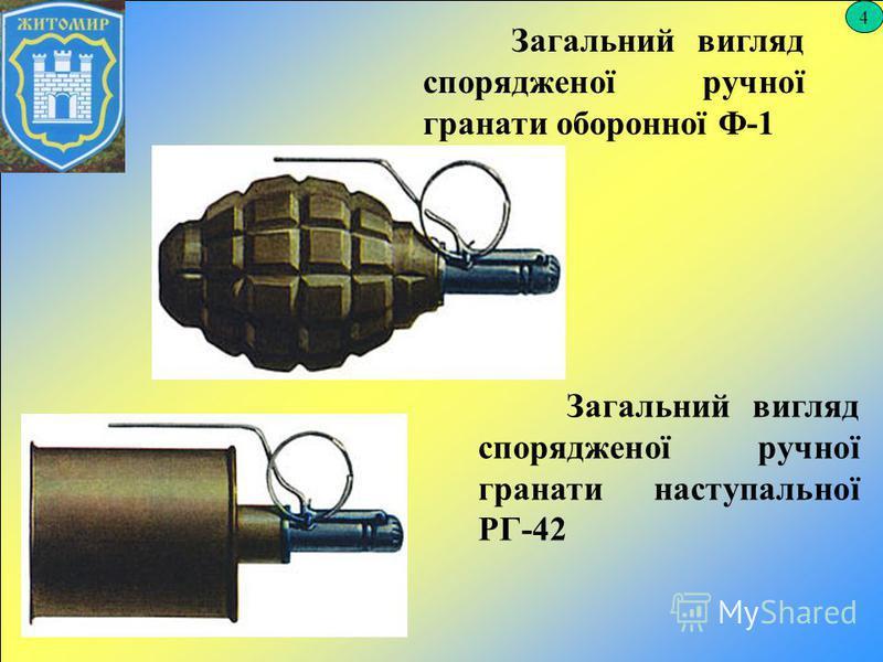 4 Загальний вигляд спорядженої ручної гранати оборонної Ф-1 Загальний вигляд спорядженої ручної гранати наступальної РГ-42